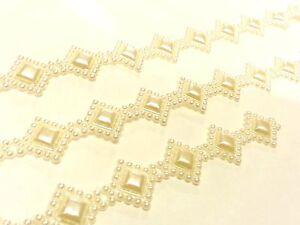 At7 3m X 20mm Elfenbein Vintage Perlen Diamant Spitze Braut