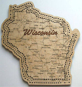 Wisconsin State Shape Road Map Cribbage Board EBay - Road map of wisconsin