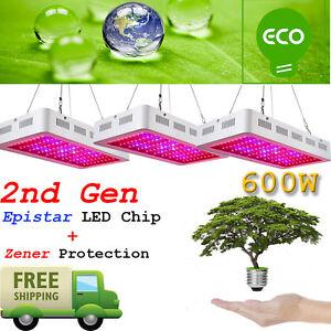 Détails sur 3PCS 2nd Gen 600 W DEL Grow Lights spectre complet Lampe Panel  Plant Light- afficher le titre d'origine