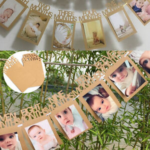 1 12 Months Baby 1st Birthday Photo Frame Shower Bunting Banner