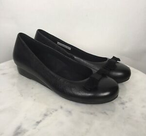 Vionic-Women-s-Shoes-Leather-US-9-EU-40-Wedge-Comfort-Bow-Solid-Black