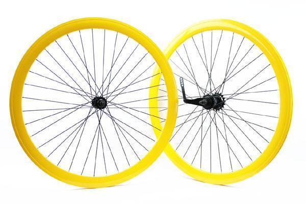 Coppia ruote fixed bike amarillo con contropedale RIDEWILL BIKE scatto fisso