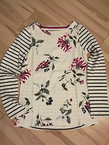 New-Joules-Harbour-Print-Jersey-Top-Cream-Hedgerow-sz-UK-10-14-18