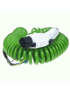 Type 1 COILED GREEN cable J1772 EV Tethered Charging Plug and Lead 16Amps