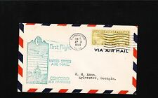 First Flight US Mail Concord New Hampshire 1934 8c Winged Globe Cover 7v