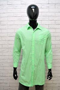 RALPH-LAUREN-Uomo-Camicia-Manica-Lunga-Taglia-XL-Shirt-Camicetta-Cotone-Verde