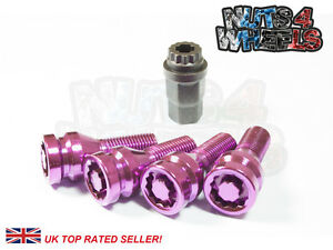 4 x Purple Alloy Locking Wheel Bolts M12x1.5 fit Vauxhall Vectra