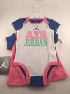 7da5e7d6d229e5 NWT NIKE AIR JORDAN GIRLS 3 PIECE SET PINK BLUE WHITE BODYSUIT SHIRT ...