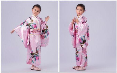 Retro Girl/'s Kimono Japanese Child Yukata Obi Retro Cosplay Bathrobe Dress Chic