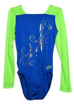 AXS Adult Extra Small 4069 GK Elite Sequined Blue Gymnastics Leotard