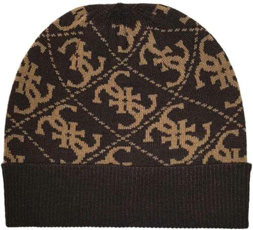 Guess Mens Wool Hat In Black Chocol