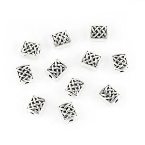 50-Tibetan-Silver-Celtic-Knot-Rectangle-Spacer-Beads-7x6mm-50493