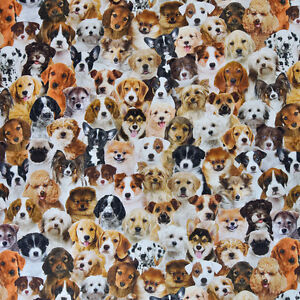 Metre Length Cotton Canvas Multicoloured Dogs 100/% cotton Fabric