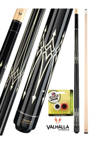 Valhalla Viking VA222 Black White Pool Cue Stick 18-21 oz FREE Tip Shaper