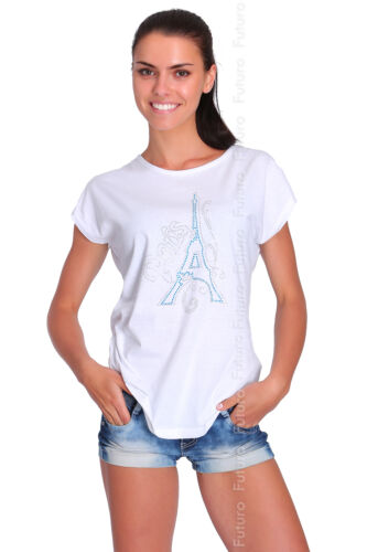 Casual Sequined T-Shirt Paris Print Short Sleeve Everyday Top Sizes 8-14 FB217