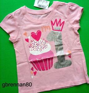 4dab1dd2d3125 NEW~ 1st BIRTHDAY 1 Year Baby Girls Cupcake PRINCESS Shirts 9 12-18 ...