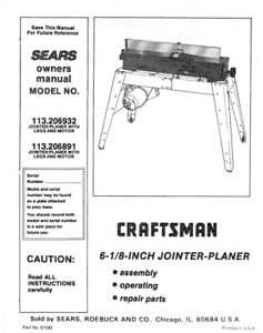 craftsman 113 206932 113 206891 jointer planer owners instruction rh ebay com craftsman jointer 113 manual craftsman jointer planer manual
