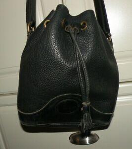 DOONEY-amp-BOURKE-Black-AWL-Leather-Drawstring-Bucket-Purse-Bag-VERY-NICE