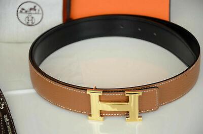 32mm HermÈs Original Braun Belt Wendegürtel Gürtel Gold Glanzend Schnalle Gr 100 Heller Glanz