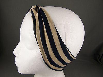 Navy Blue Beige jersey turban twist headband soft Stretch kids girls childrens