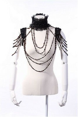 Extravagante Schulterkette Körperkette Gothic Punk schwarz  OS  #RQ 21106