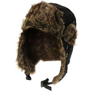 Free-Authority-Trapper-Mens-Hat-Warm-Winter-Fur-Beanie-Black-R151-12