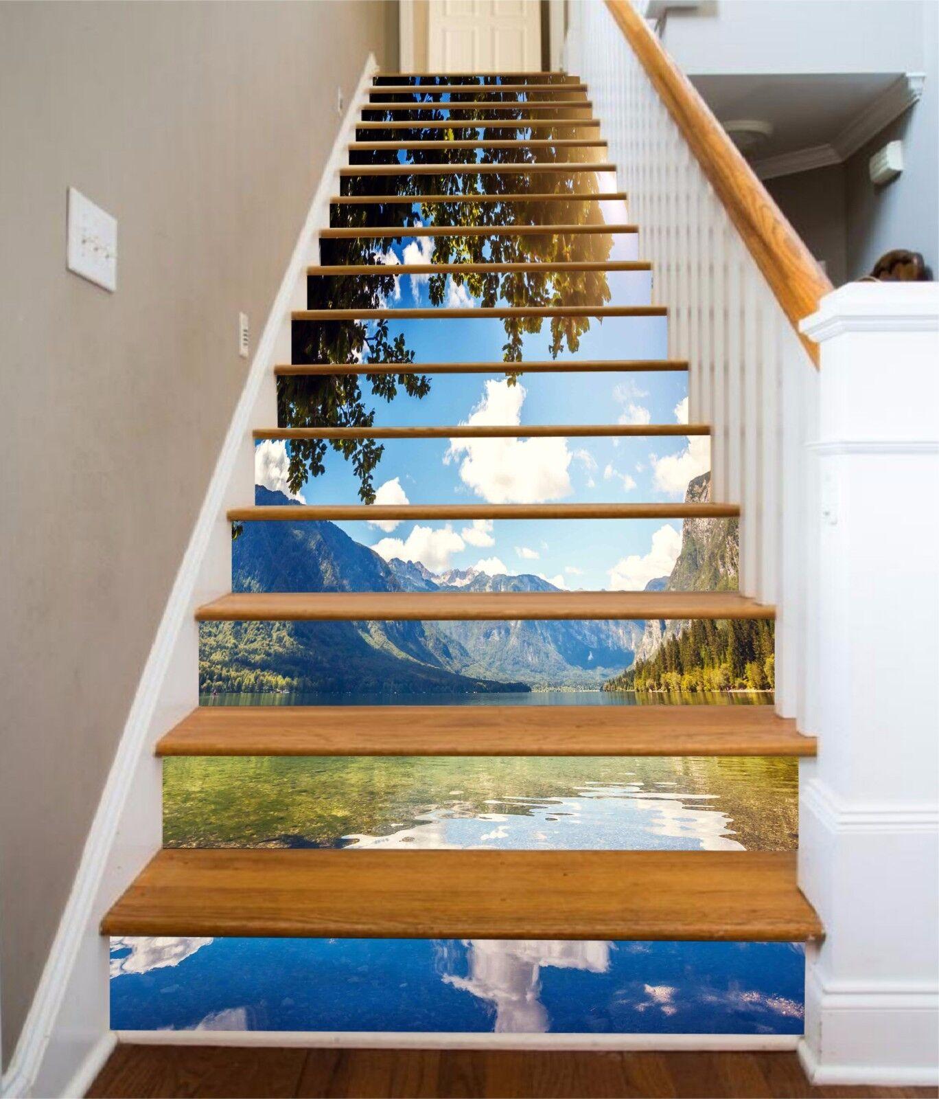 3D Beautiful Lake 9 Stair Risers Decoration Photo Mural Vinyl Decal Wallpaper UK