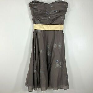 Odille-Anthropologie-Strapless-Dress-Size-8-Peppermint-Tea-Brown-Floral-Cotton