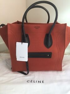 NWT-Authentic-Celine-Rust-Orange-Canvas-Phantom-Medium-Leather-Luggage-Tote