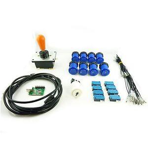 Kit-Joystick-COREEN-Arcade-1-joueur-Poire-Boutons-Americains-Bleu-Mame-USB