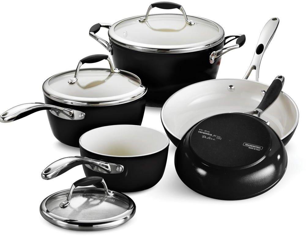 Cookware Set 8-pièce en aluminium au lave-vaisselle métallique finition noire avec couvercles