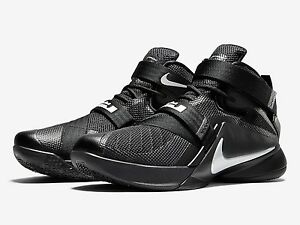 1a5ac5bc1a4 Image is loading Nike-LeBron-Soldier-9-Blackout-Black-Metallic-Silver-