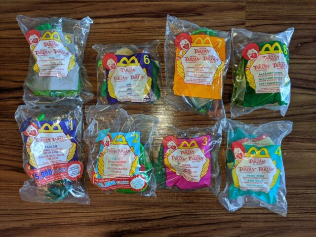 NIB Disney's Tarzan On Video, 2000, McDonald's Happy Meal Toy, Complete set of 8