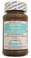2 Pack - Beelith Tablets Magnesium Supplement 100 Count Each