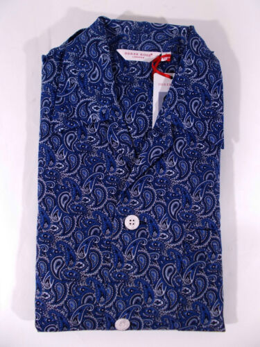 DEREK ROSE pigiama uomo lungo APERTO 100/% cotone cashmere BLU tg S-L-XL-XXL-3XL
