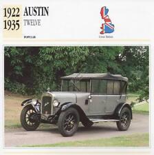 1922-1935 AUSTIN TWELVE Classic Car Photograph / Information Maxi Card