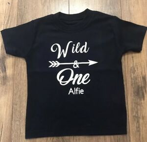242310344 Boys Girls Personalised 1st Birthday Name Top TShirt Outfit Wild One ...