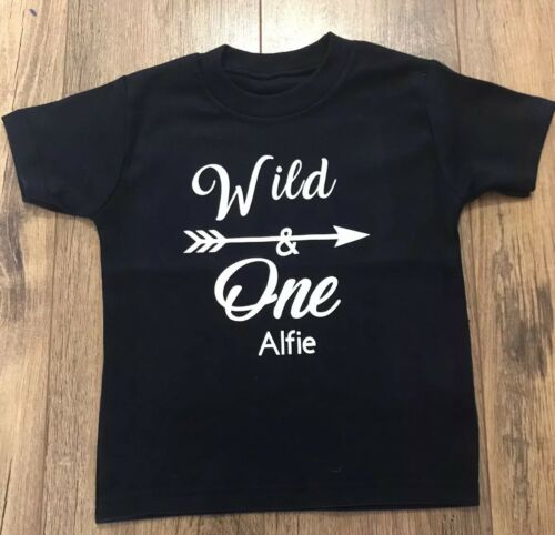 Boys Girls Personalised 1st Birthday Name Top TShirt Outfit Wild One Black White