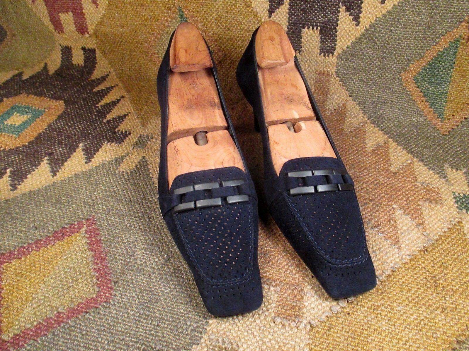 Stuart Weitzman bluee Suede Square Toe Classic  Kitten Heels Pumps shoes size 8 N