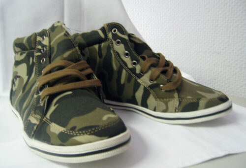 Gr 37,38,39,40 TOP-PREIS Camouflage Sneakers A147 High-Top Army Style NEU