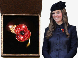Princess-Kate-Poppy-Broach-Red-Crystal-Gold-Solid-metal-Box-Remembrance-ANZAC