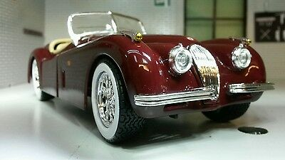 100% Vero G Lgb 1:24 Scale Red Jaguar Xk120 Xk140 Convertible Burago V Detailed Model Car Moda Attraente