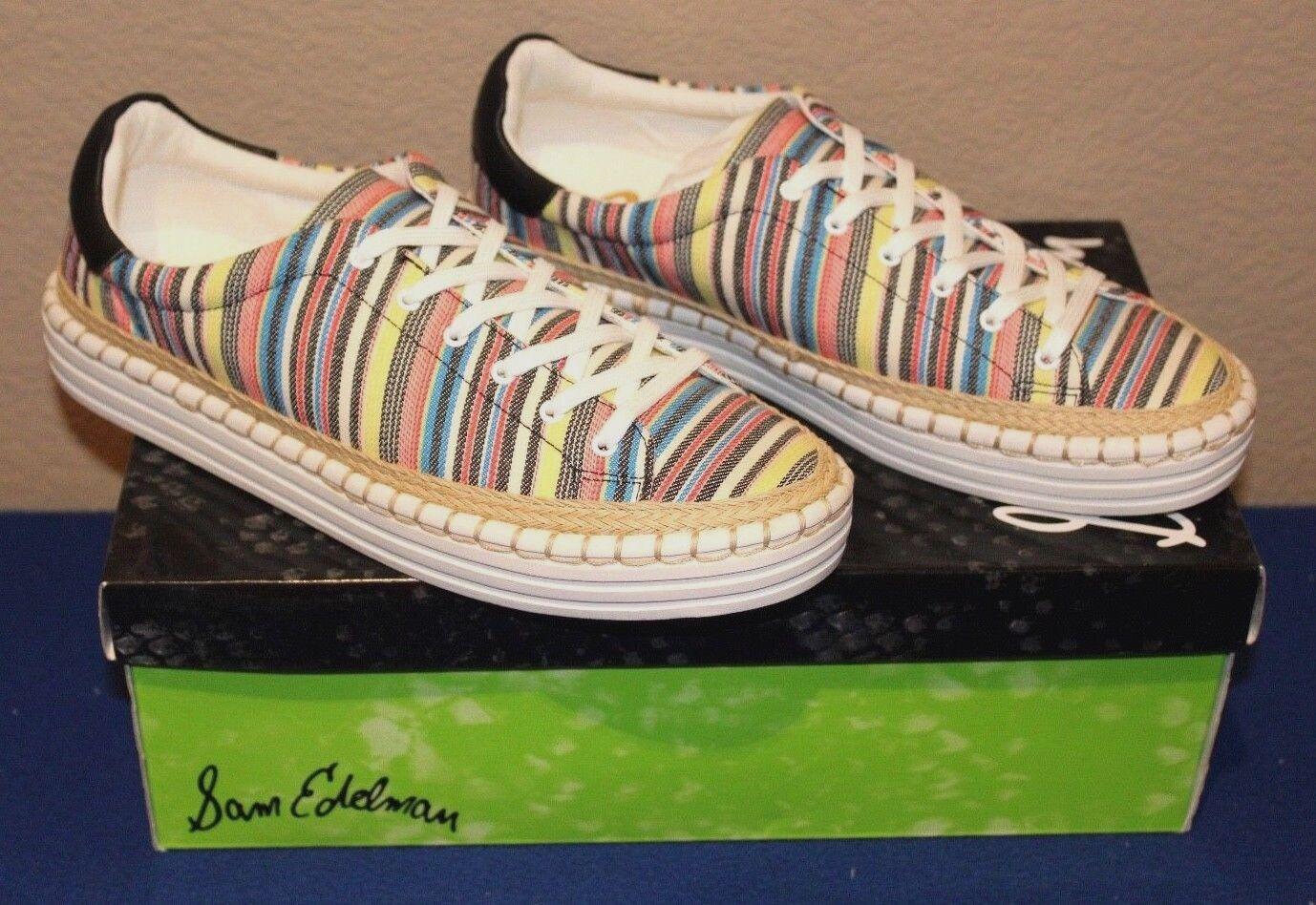 Sam Edelman Kavi Ivory Multi/Black Comfort Womens Athletic Shoes Size 7.5 New