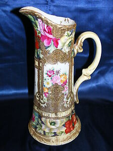 Vintage-Nippon-14-034-Ewer-Vase-Floral-Design-Gold-Beading-Mark-52-Hand-Painted