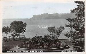 C48-Lake-City-Minnesota-Mn-Real-Photo-RPPC-Postcard-1955-Maiden-Rock-Onuta-Park