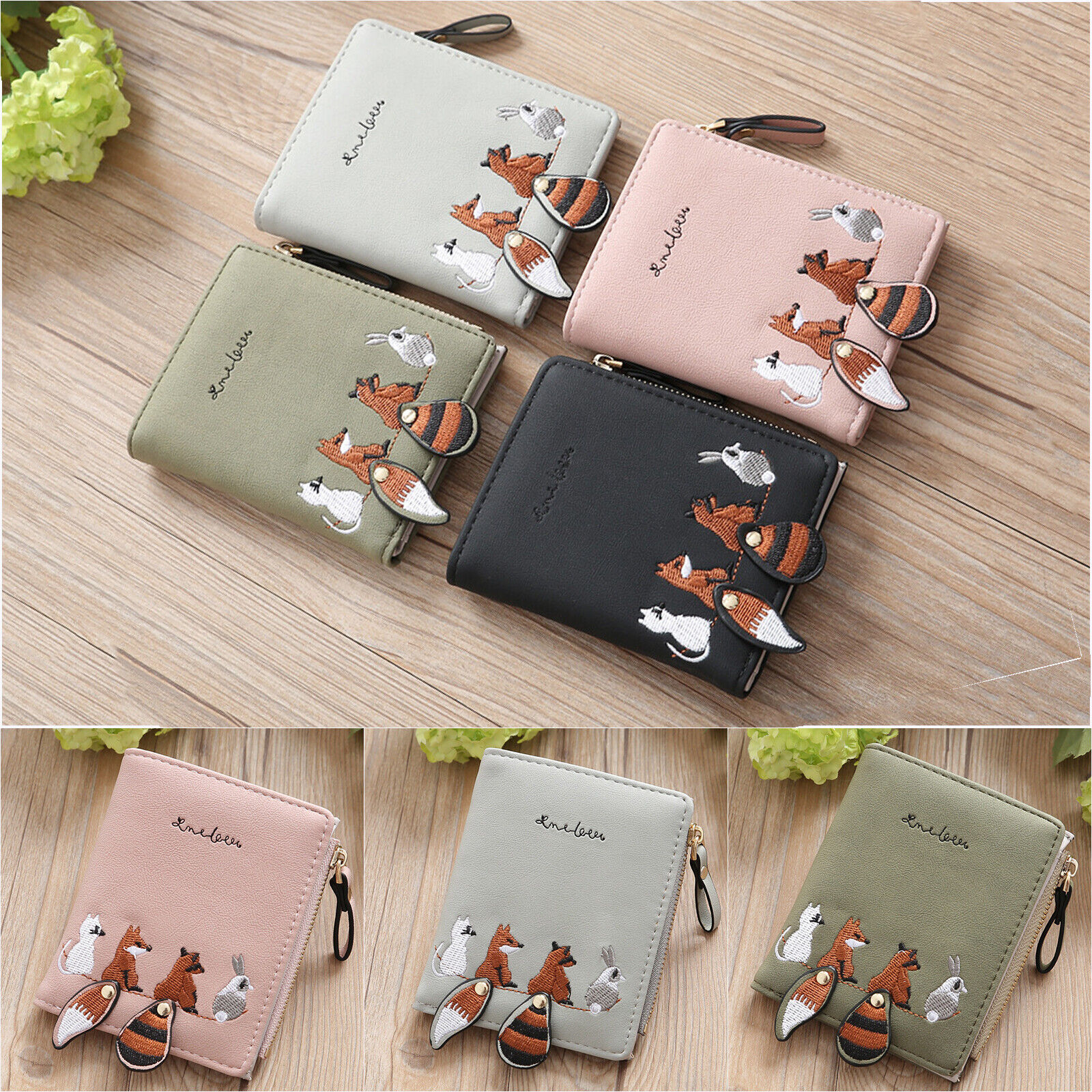 New Women Fox Small Purse Faux Leather Mini Bifold Wallet Coin Photo Card Holder