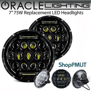 ORACLE-7-034-Sealed-Beam-75W-Replacement-LED-Round-Headlights-Black-Bezel