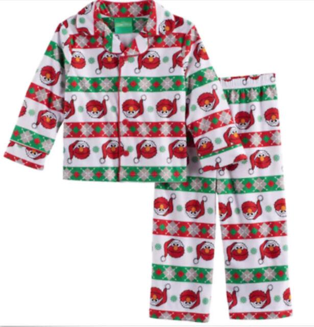 eabff4476 Toddler Boys' 2 Piece Pajama Set NWT Sesame Street Santa Elmo Christmas 3T