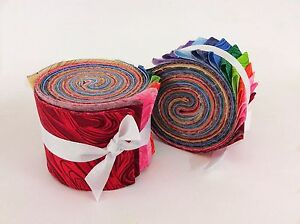 2-5-inch-Rainbow-swirl-Jelly-Roll-100-cotton-fabric-quilting-strips