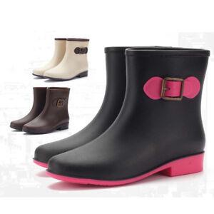 Womens-Ladies-Low-heel-Chelsea-Ankle-Wellies-Wellingtons-Boots-Rain-Shoes-Size